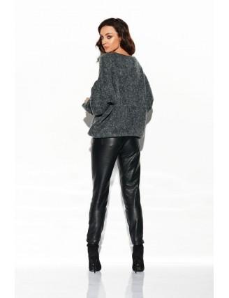 Tmavo-sivý sveter s výstrihom a rozšírenými rukávmi 3