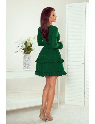 Zelené krátke áčkové šaty s volánmi a výstrihom-5