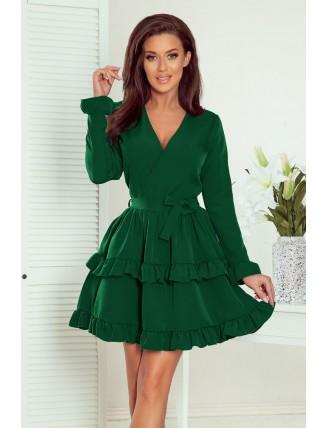 Zelené krátke áčkové šaty s volánmi a výstrihom-6