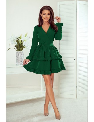 Zelené krátke áčkové šaty s volánmi a výstrihom-3