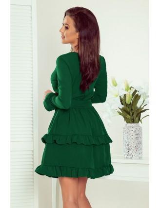 Zelené krátke áčkové šaty s volánmi a výstrihom-4