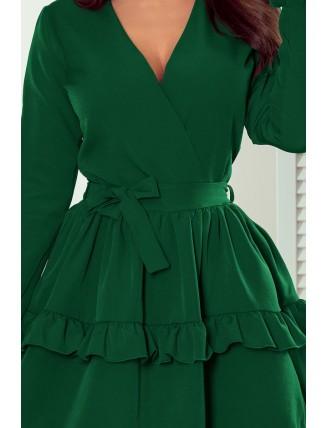 Zelené krátke áčkové šaty s volánmi a výstrihom-2