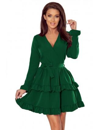 Zelené krátke áčkové šaty s volánmi a výstrihom