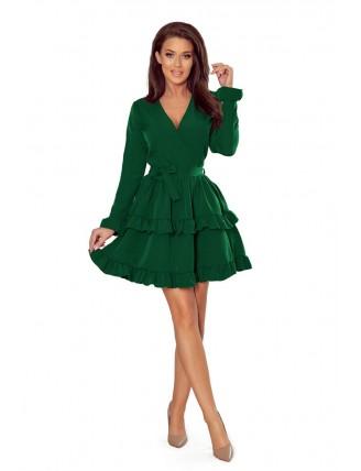 Zelené krátke áčkové šaty s volánmi a výstrihom-1