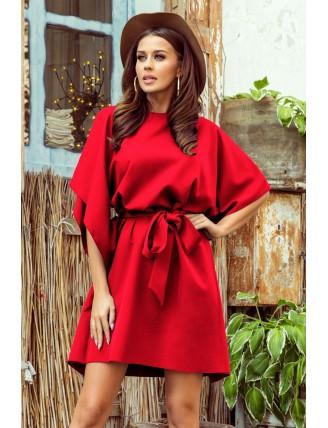 Krátke červené šaty s viazaním v páse-2