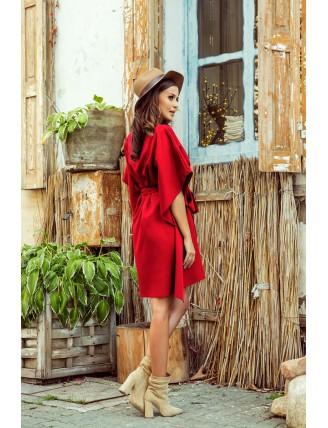 Krátke červené šaty s viazaním v páse-1