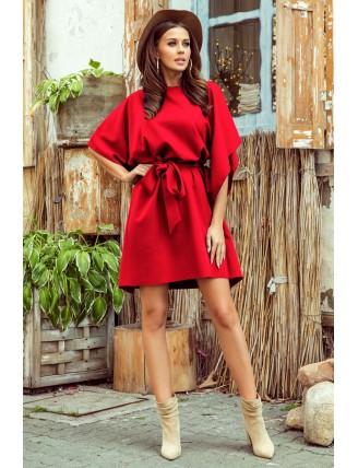 Krátke červené šaty s viazaním v páse-3