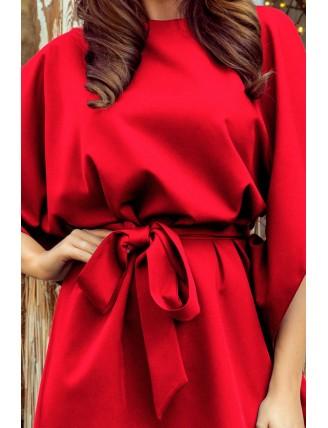 Krátke červené šaty s viazaním v páse-4