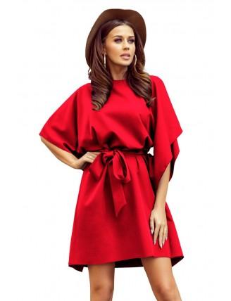 Krátke červené šaty s viazaním v páse