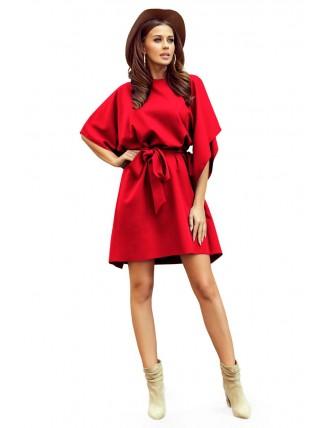 Krátke červené šaty s viazaním v páse-5