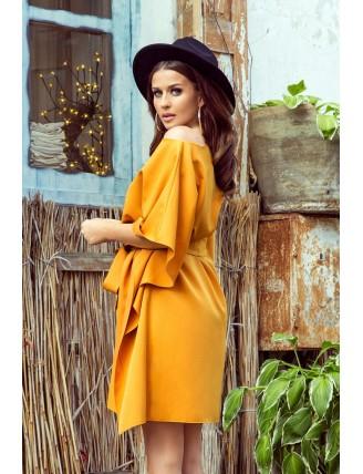 Krátke medové šaty s viazaním v páse -2