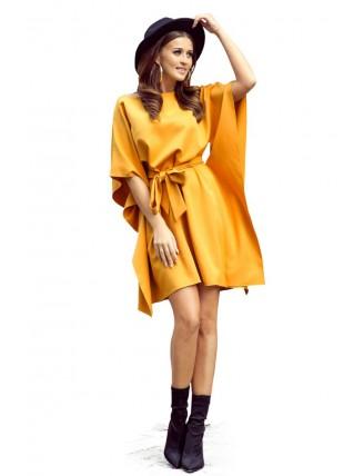 Krátke medové šaty s viazaním v páse-7