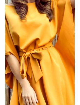 Krátke medové šaty s viazaním v páse -1
