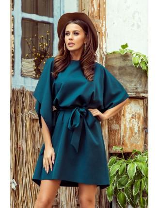 Krátke smaragdové šaty s viazaním v páse-3