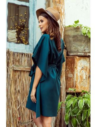 Krátke smaragdové šaty s viazaním v páse-5