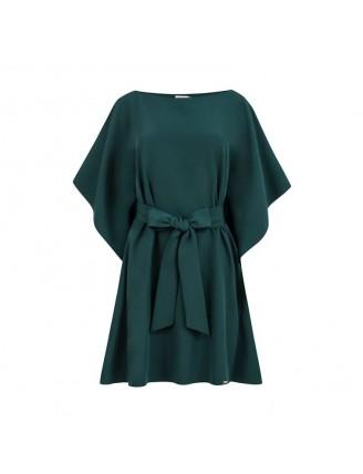 Krátke smaragdové šaty s viazaním v páse-1
