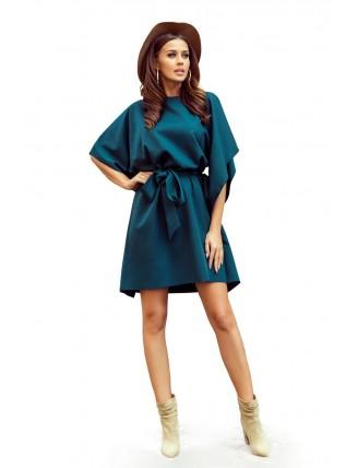 Krátke smaragdové šaty s viazaním v páse-4