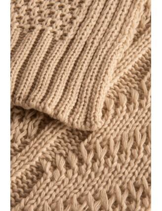 Dlhý oversize pletený kardigán detail rukáv