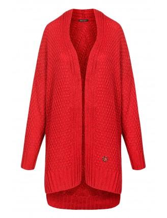 Dlhý oversize pletený kardigán červenej farby 4
