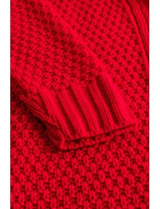 Dlhý oversize pletený kardigán červenej farby 7