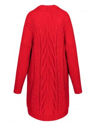 Dlhý oversize pletený kardigán červenej farby 5