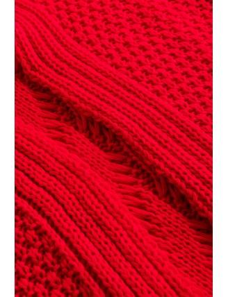 Dlhý oversize pletený kardigán červenej farby 6