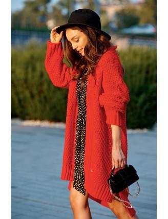 Dlhý oversize pletený kardigán červenej farby 1