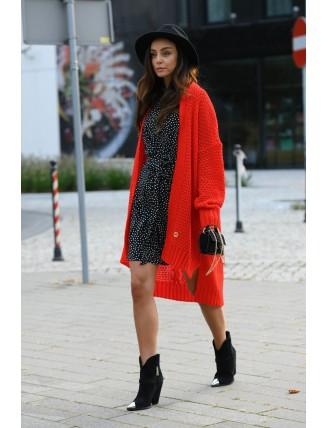 Dlhý oversize pletený kardigán červenej farby 2