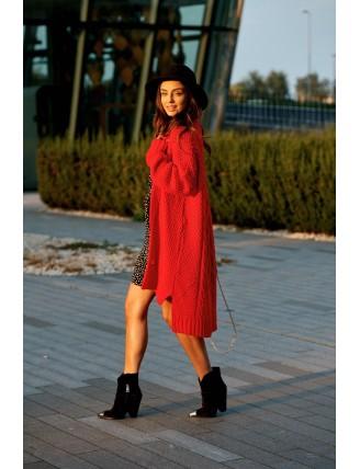 Dlhý oversize pletený kardigán červenej farby