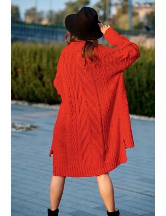 Dlhý oversize pletený kardigán červenej farby 3