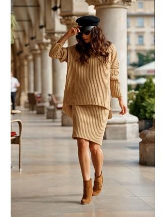 Hnedá pletená súprava roláku so sukňou 2