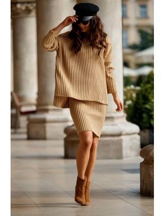 Hnedá pletená súprava roláku so sukňou