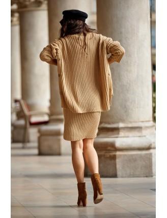 Hnedá pletená súprava roláku so sukňou 1