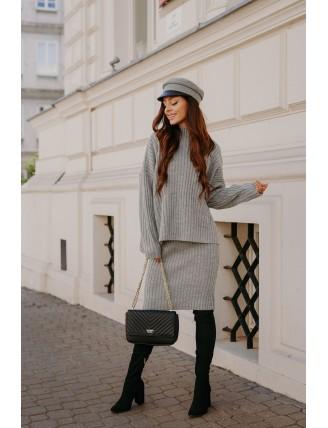Sivá pletená súprava roláku so sukňou 2