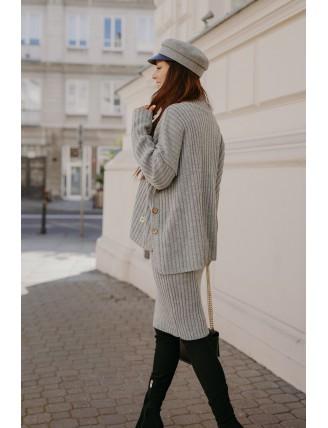 Sivá pletená súprava roláku so sukňou 3