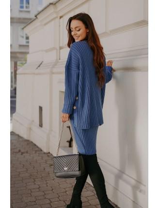 Modrá pletená súprava roláku so sukňou 3