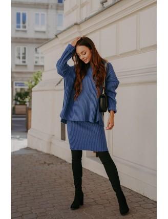 Modrá pletená súprava roláku so sukňou