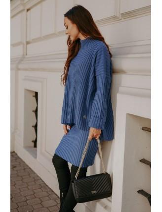 Modrá pletená súprava roláku so sukňou 2