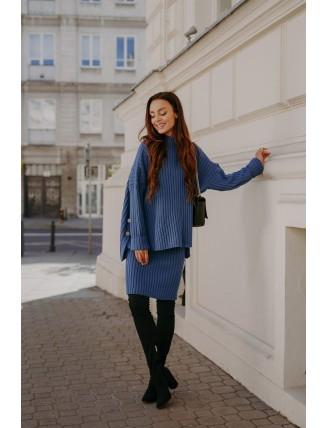 Modrá pletená súprava roláku so sukňou -1