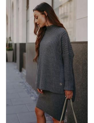 Tmavosivá pletená súprava roláku so sukňou 3