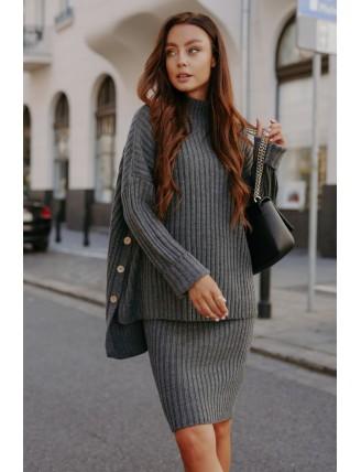 Tmavosivá pletená súprava roláku so sukňou
