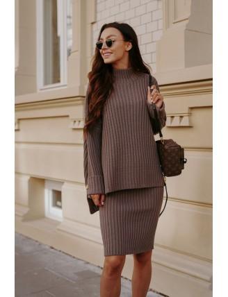 Cappuccino pletená súprava roláku so sukňou 1