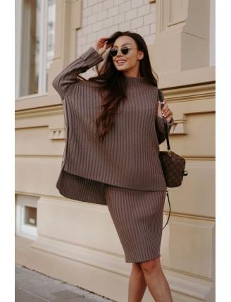 Cappuccino pletená súprava roláku so sukňou