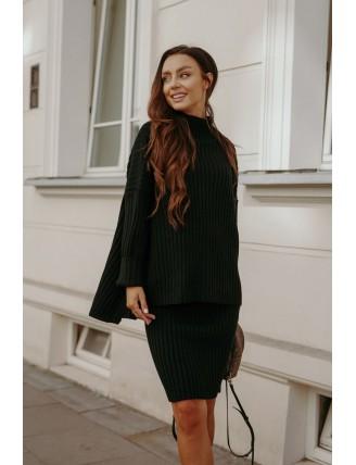 Čierna pletená súprava roláku so sukňou 2