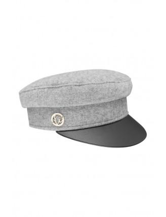 Sivá námornícka čiapka s koženkovým šiltom 4