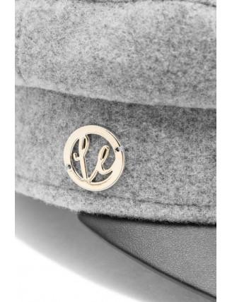 Sivá námornícka čiapka s koženkovým šiltom 5