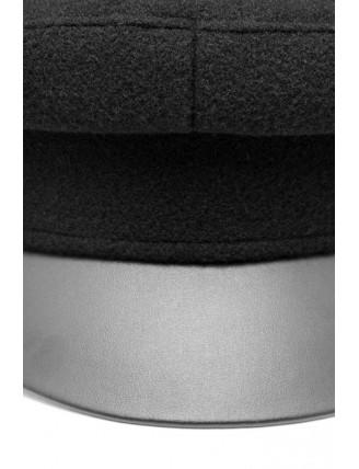 Čierna námornícka čiapka s koženkovým šiltom 3