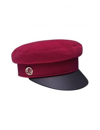 Bordová námornícka čiapka s koženkovým šiltom 7