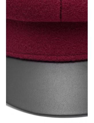 Bordová námornícka čiapka s koženkovým šiltom 6