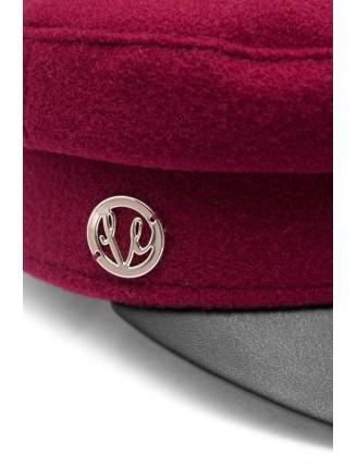 Bordová námornícka čiapka s koženkovým šiltom 5